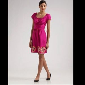 Phoebe Couture Magenta Embroidered Silk  Dress